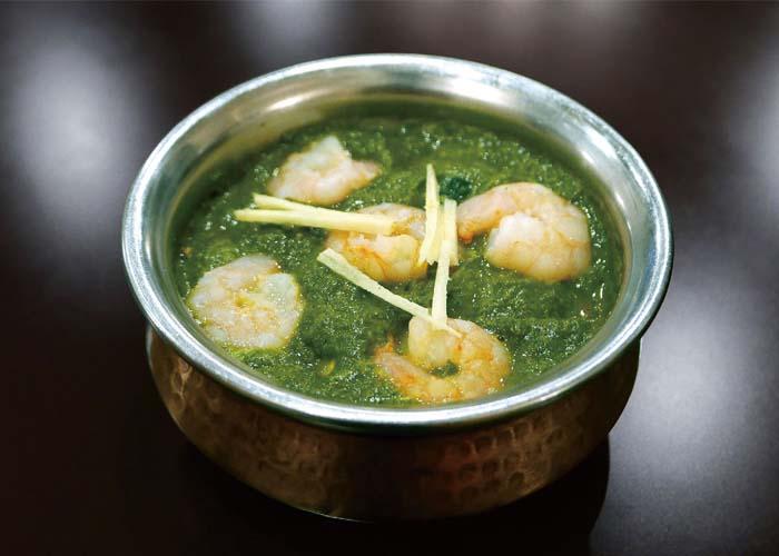 Sag Prawn Curry